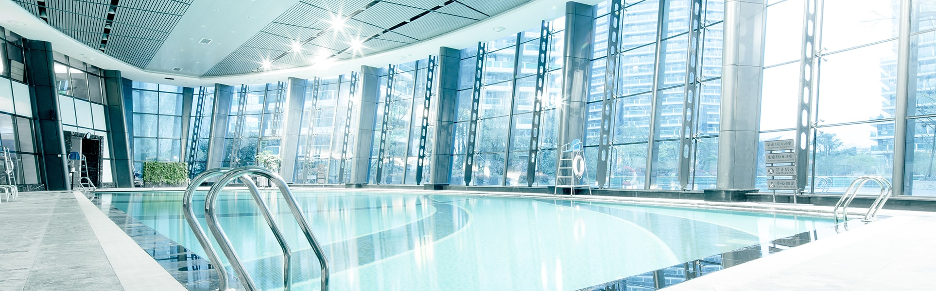 Image of indoor pool with dehumidification equipment installed by a Dehumidified Air Solutions Company